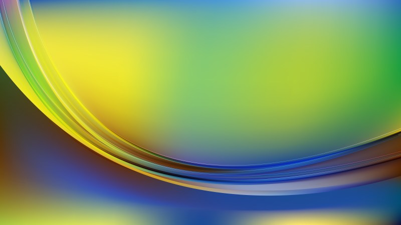 Abstract Blue Green and Yellow Shiny Wave Background Graphic
