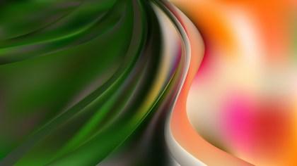 Glowing Orange White and Green Wave Background Illustration