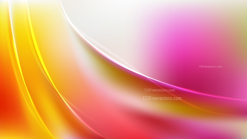 Glowing Abstract Pink Yellow and White Wave Background
