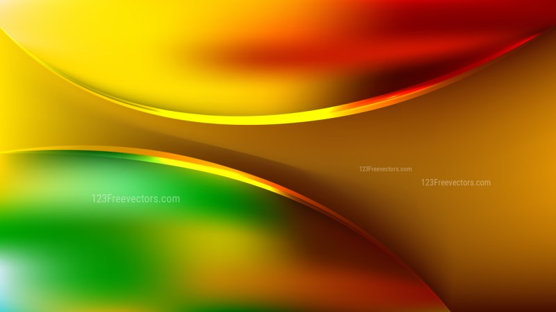 Glowing Abstract Red Yellow and Green Wave Background