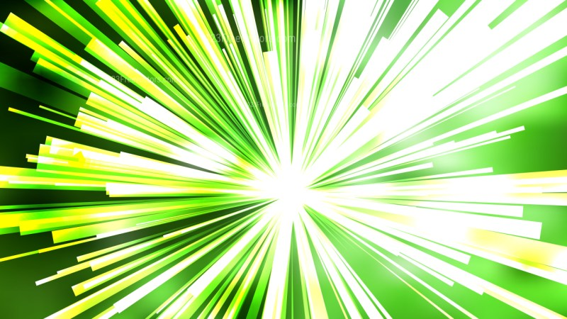 Abstract Green Yellow and White Radial Stripes Background Design