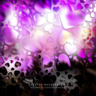 Romantic Purple Black Hearts Background