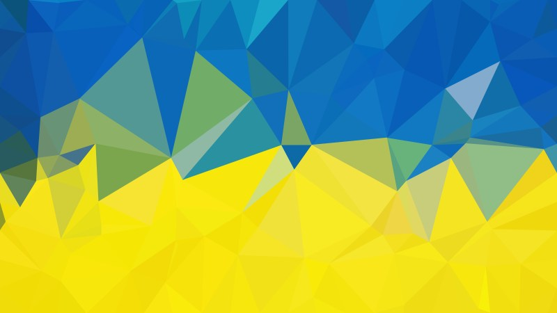 Abstract Blue and Yellow Polygonal Triangle Background