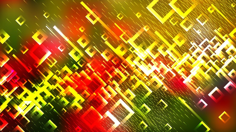 Modern Red Yellow and Green Square Abstract Background