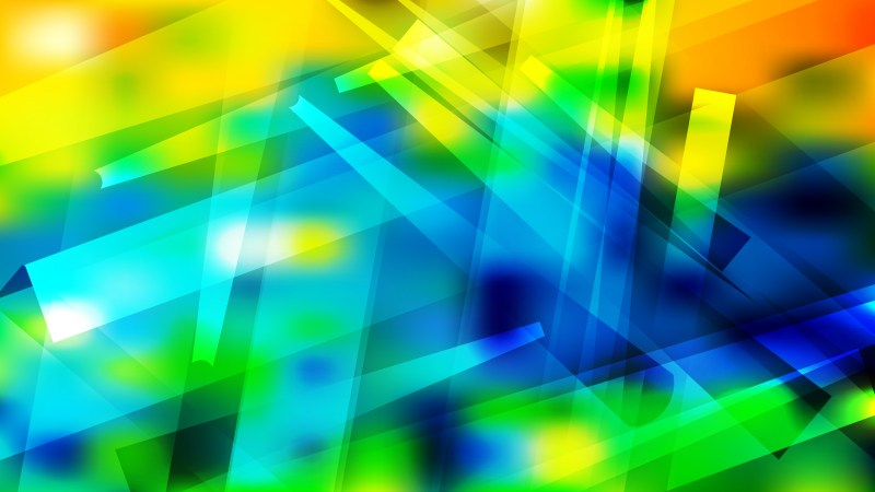 Abstract Blue Green and Yellow Lines Stripes and Shapes Background