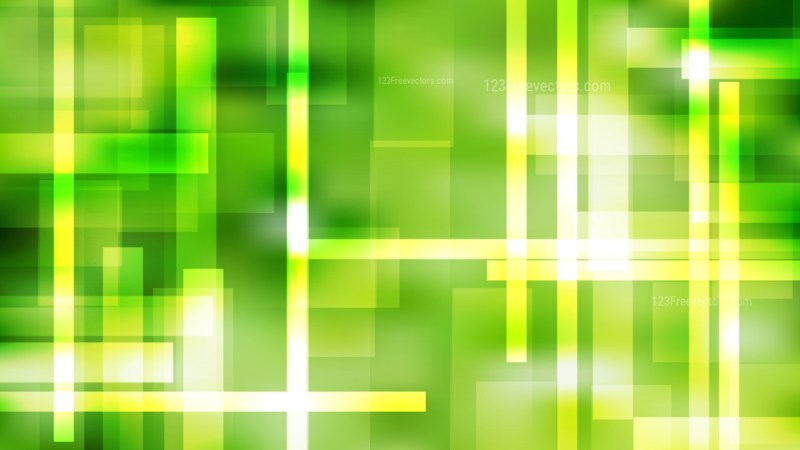 Abstract Green Yellow and White Lines Stripes and Shapes Background