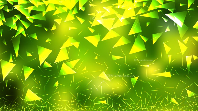 Abstract Green and Yellow Geometric Triangle Background Vector Graphic