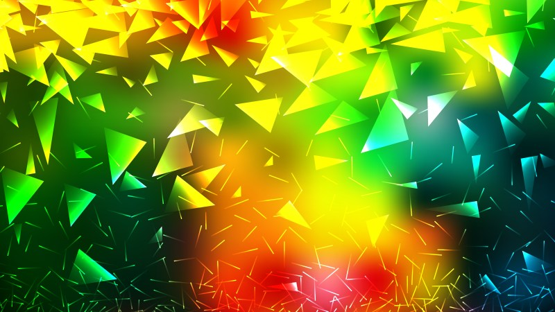 Abstract Red Yellow and Green Geometric Triangle Background