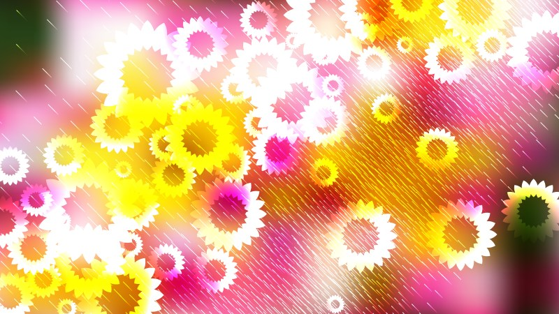 Pink Yellow and White Floral Background Vector Illustration