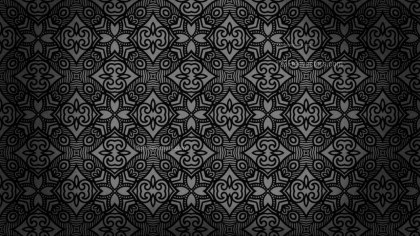 Black Vintage Decorative Floral Seamless Pattern Wallpaper Design