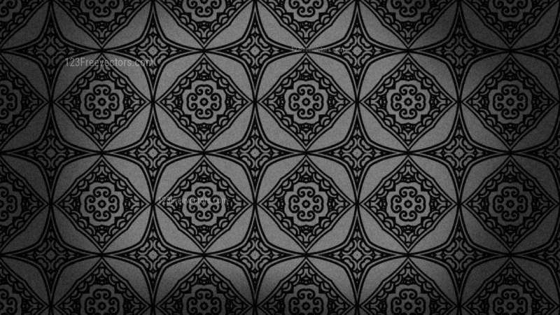 Black Vintage Decorative Floral Ornament Wallpaper Pattern Image