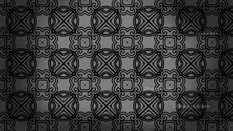 Black Vintage Floral Ornament Wallpaper Pattern Graphic
