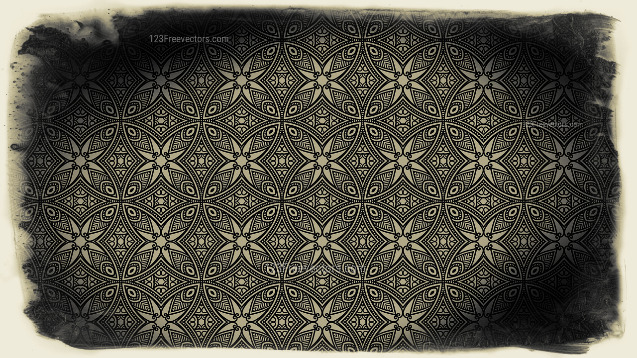 Black and Brown Vintage Floral Pattern Texture Background Template