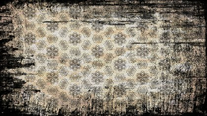 Black and Brown Vintage Grunge Seamless Floral Pattern Background