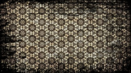 Black and Brown Vintage Grunge Decorative Floral Background Pattern