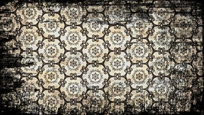 Black and Brown Vintage Grunge Floral Seamless Background Pattern Template