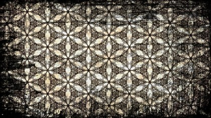Black and Brown Vintage Grunge Decorative Floral Seamless Wallpaper Pattern Image