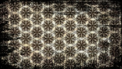 Black and Brown Vintage Grunge Flower Pattern Background
