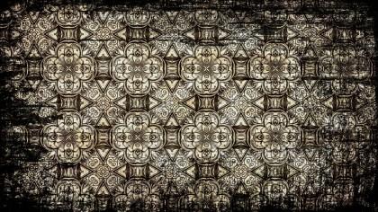 Black and Brown Vintage Grunge Floral Background Pattern