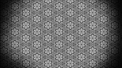 Black and Gray Decorative Floral Seamless Pattern Wallpaper Design