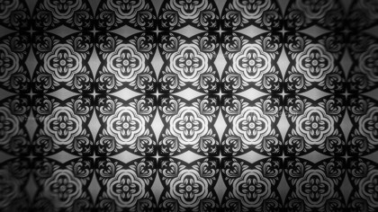 Black and Gray Floral Ornament Wallpaper Pattern Design