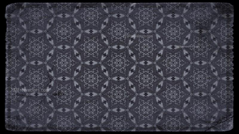 Black and Grey Vintage Decorative Floral Pattern Wallpaper