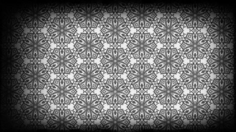 Black and Grey Vintage Decorative Ornament Wallpaper Pattern