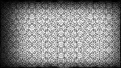 Black and Grey Vintage Flower Wallpaper Pattern