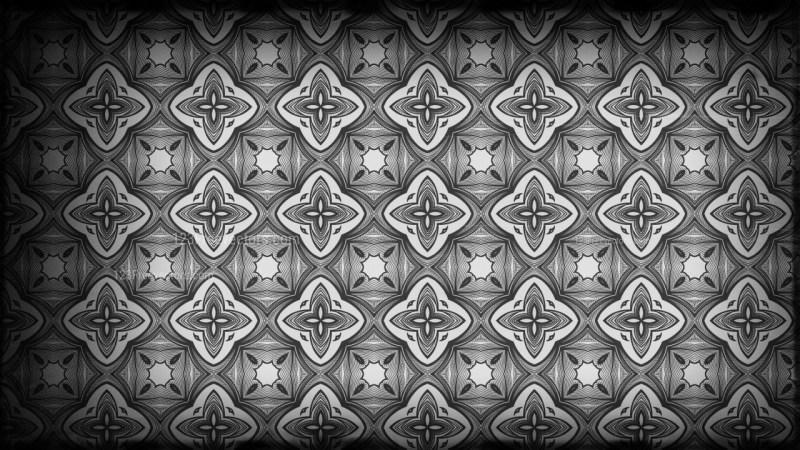 Black and Grey Vintage Seamless Floral Background Pattern