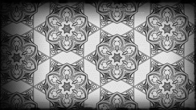 Black and Grey Vintage Ornamental Pattern Background