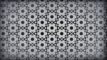 Black and Grey Vintage Floral Pattern Wallpaper