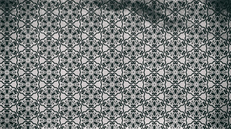 Black and Gray Seamless Floral Vintage Pattern Background Image