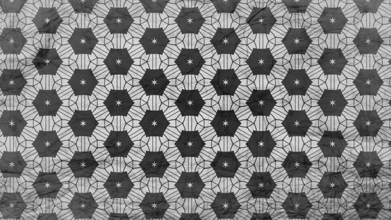 Black and Gray Seamless Floral Geometric Wallpaper Pattern