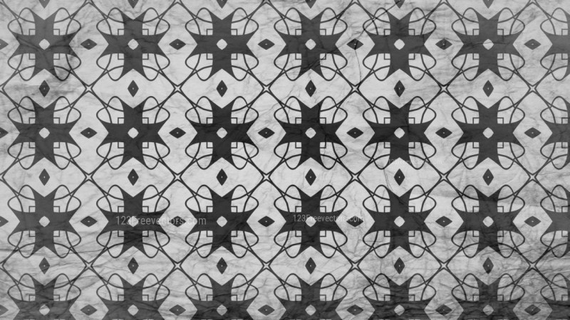 Black and Gray Seamless Floral Geometric Background Pattern