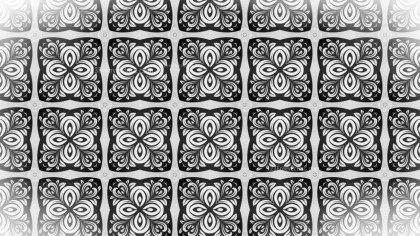 Black and White Seamless Floral Geometric Background Pattern
