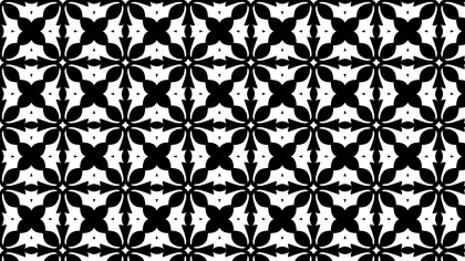 Black and White Floral Seamless Geometric Pattern Wallpaper Template
