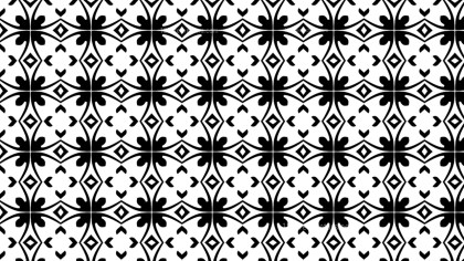 Black and White Decorative Geometric Seamless Wallpaper Pattern