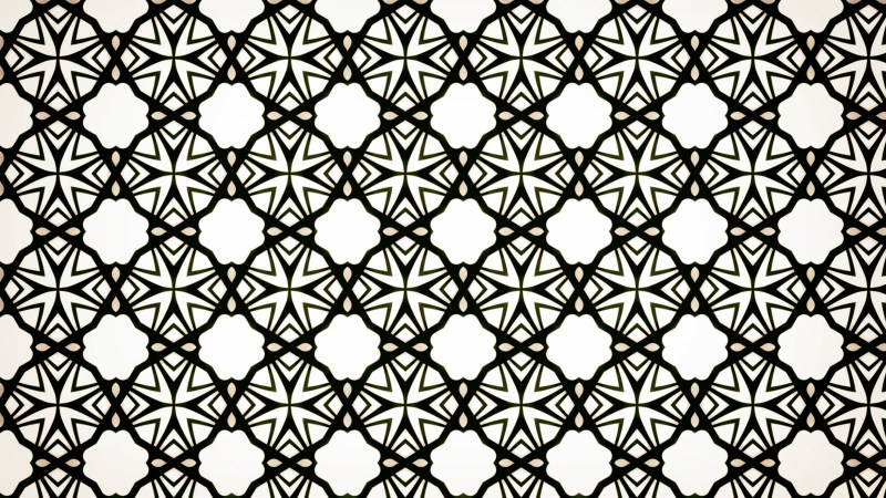 Black and White Seamless Floral Geometric Wallpaper Pattern