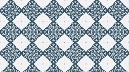 Blue and White Decorative Floral Ornament Wallpaper Pattern Image