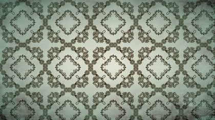 Brown and Green Vintage Floral Ornament Wallpaper Pattern Graphic