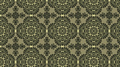 Brown and Green Vintage Ornament Wallpaper Pattern Design