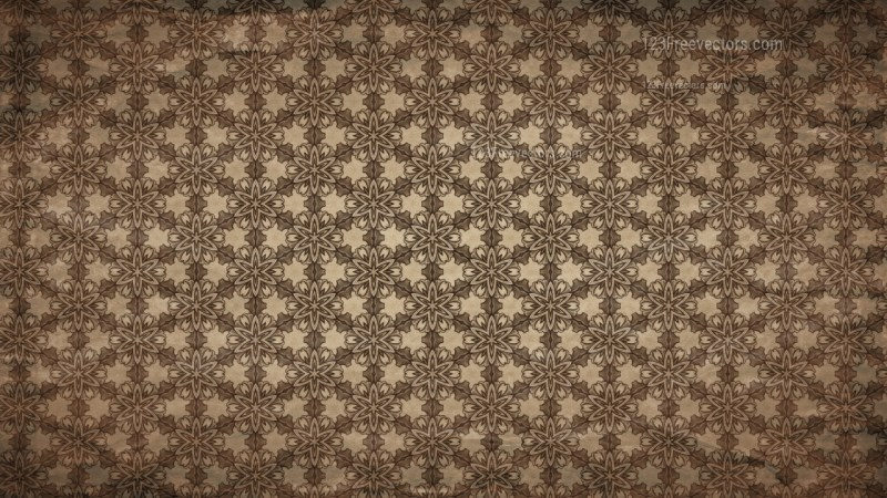 Dark Brown Vintage Floral Pattern Wallpaper
