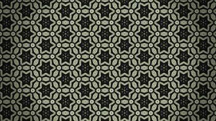 Dark Green Vintage Ornamental Pattern Wallpaper