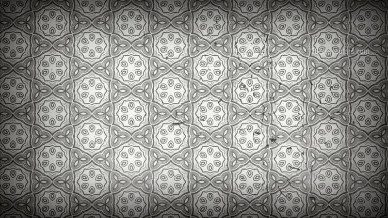 Dark Gray Decorative Floral Pattern Wallpaper