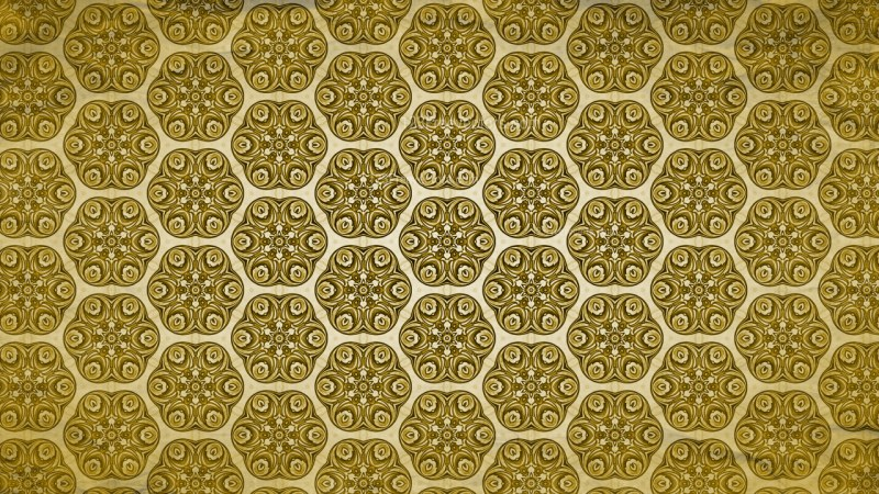 Gold Vintage Floral Ornament Wallpaper Pattern Graphic