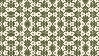 Green and Beige Seamless Floral Vintage Pattern Background Image