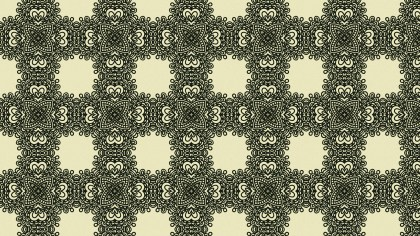 Green and Beige Vintage Ornamental Pattern Wallpaper