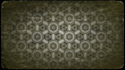 Green and Black Vintage Decorative Floral Ornament Background Pattern Design Template