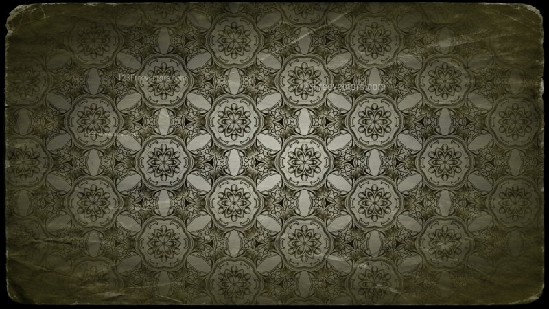 Green and Black Vintage Decorative Floral Ornament Background Pattern Design Template