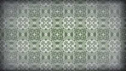 Green and Grey Vintage Decorative Floral Pattern Wallpaper